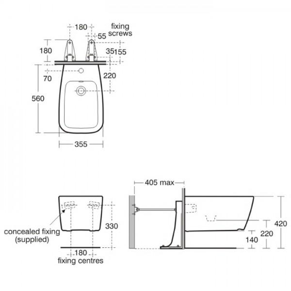 ideal standard ventuno bidet wisz cy t515101 t515101 681. Black Bedroom Furniture Sets. Home Design Ideas