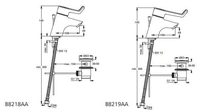 ideal standard ceraplus bateria umywalkowa z przed u onym uchwytem 180mm z korkiem aut 98218aa. Black Bedroom Furniture Sets. Home Design Ideas